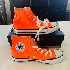 Converse Neon Orange High Top Sneakers!